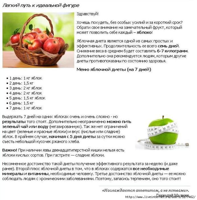 Похудение на печеных яблоках отзывы